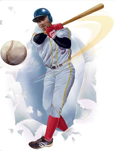 852182 Baseball Player Break-Out Peel and Stick Mural 18.5 inches wide by 24