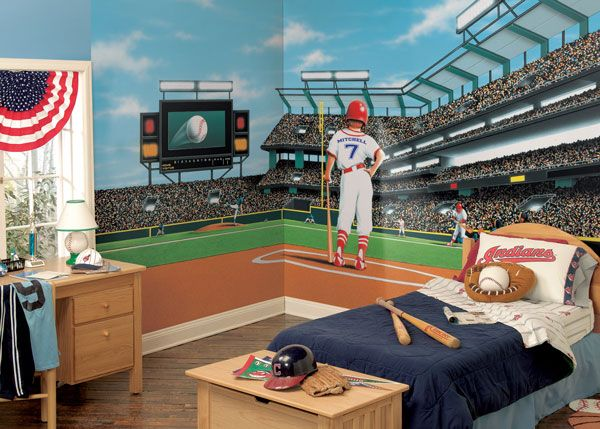 Mlb baseball home decor wall murals and wallpaper borders for Baseball field wall mural