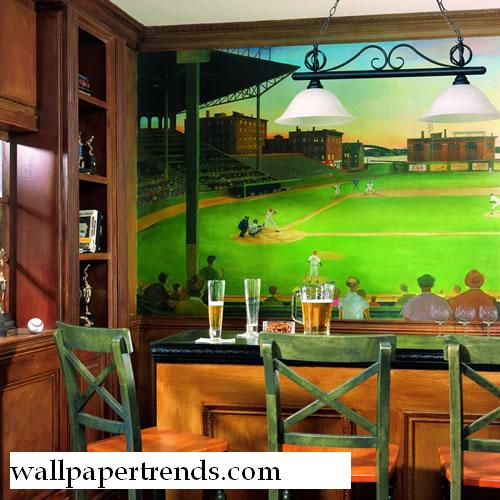... - Baseball Stadium Wall Murals On Mlb Baseball Home Decor Baseball